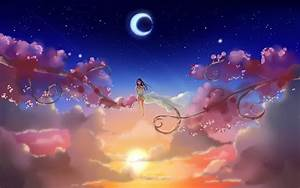 clouds, Sun, artwork, anime, skyscapes, crescent moon ...