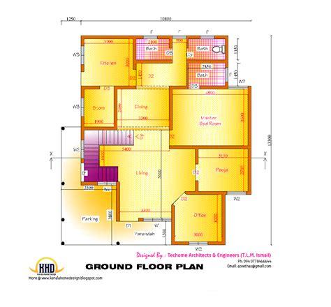 ground floor plan 2d elevation and floor plan of 2633 sq kerala house