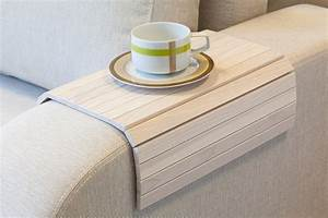 Flexible wooden sofa armrest tray table the green head for Sofa arm covers wood