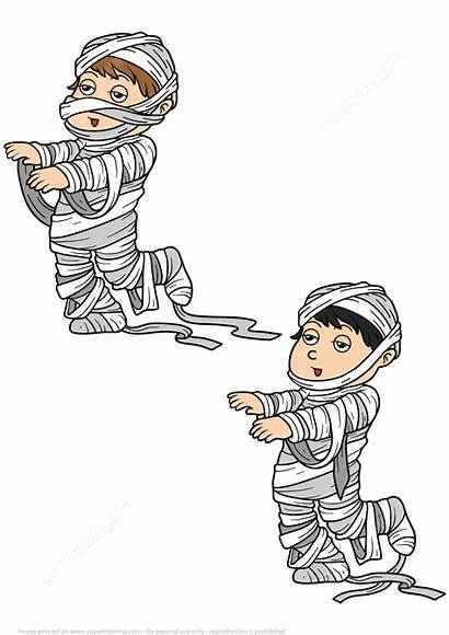 Halloween Boy Mummy Puzzle Differences Costume Drawing