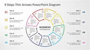 9 Steps Circular Thin Arrows Powerpoint Diagram