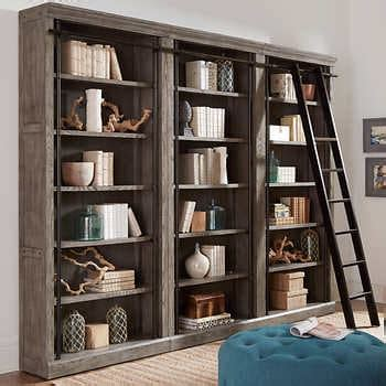 Tuscan 3-piece Bookcase Wall and Ladder
