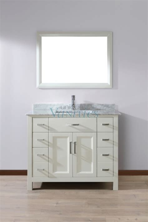 42 Inch Single Sink Bathroom Vanity with Marble Top in