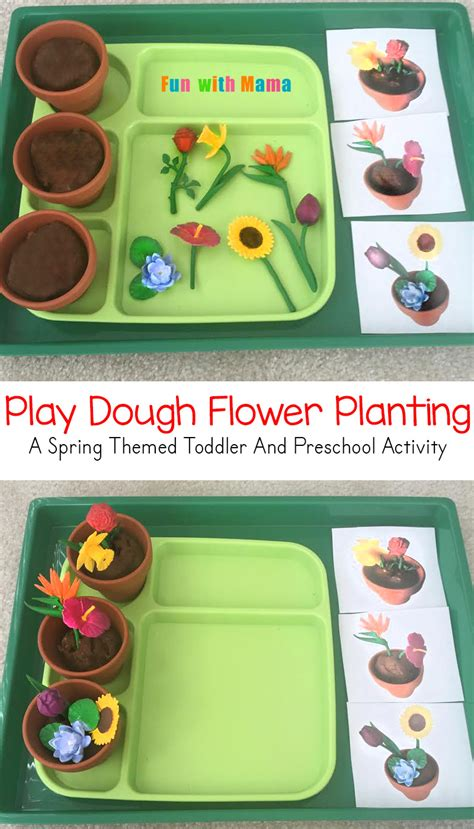 preschool flower planting play dough activity 972 | spring preschool activities