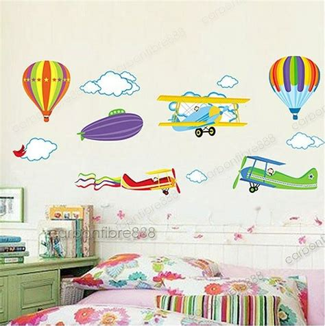 colorful planes hot air balloons wall stickers vinyl paper