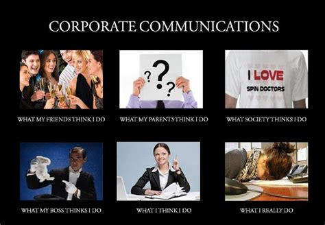 Communication Meme - impression of a corporate communications specialist commercial media