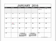 2016 Excel Monthly Calendar 02 Free Printable Templates