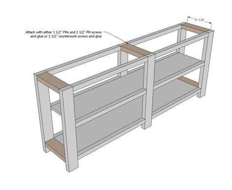ana white build  rustic  console   easy diy project  furniture plans home