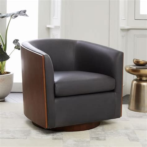 luther swivel chair luther leather swivel chair west elm 3899