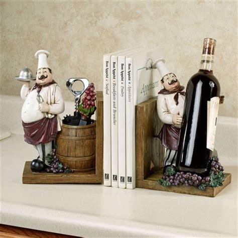 black chef kitchen accessories chefs gourmet wine holder bookend pair 4660