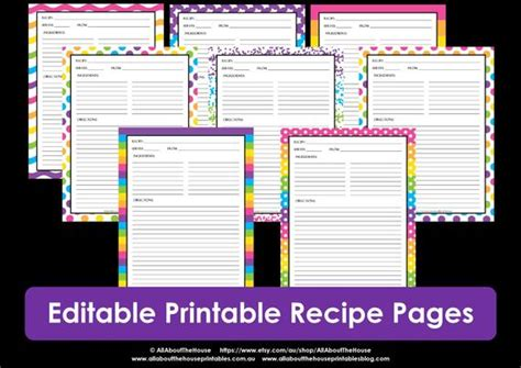 editable printable recipe card template  sheet recipe