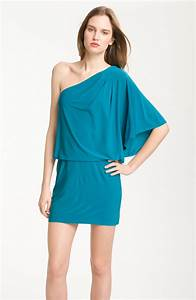 Jessica Simpson One Shoulder Jersey Mini Dress in Blue ...