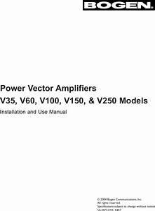 Bogen V100 Users Manual V35  V60  V100  V150  V250 Power