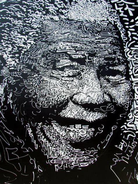 nelson mandela black  white street art collage