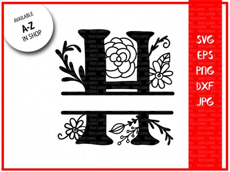 monogram letter  split letter  silhouette files svg