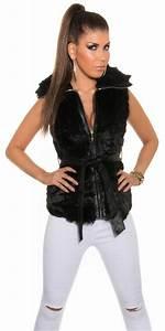 Veste Sans Manche Femme Fourrure : veste tendance sans manches fausse fourrure noir ~ Melissatoandfro.com Idées de Décoration