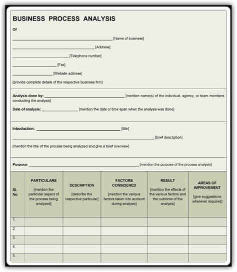 business process analysis template   sample