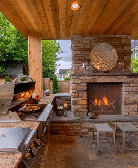 cozy outdoor kitchen  fireplace httpwww
