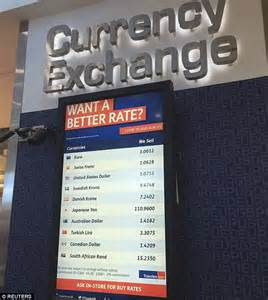 stansted bureau de change pounds slide continues as city airport now shows 1 1 exchange rate with the