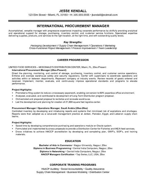 exle international procurement manager resume free sle