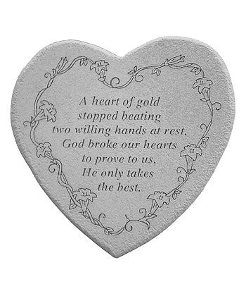 memorial stone  heart  gold stopped beating