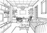 Coloring Pages Living Drawing Kitchen Interior Ball Printable Perspective Zeichnen Luminous Zimmer Modern Sketches Adult Ausmalen Books Architecture Ausmalbilder Mit sketch template