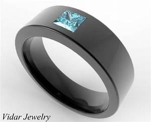 men39s wedding band black gold princess cut aquamarine With mens aquamarine wedding ring