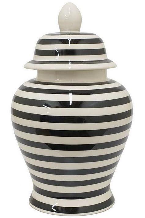 Striped Black and White Ceramic Temple Jar