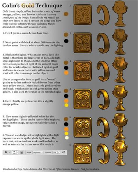 how to paint gold color 343 best digital painting tuts images on digital paintings drawing tutorials and