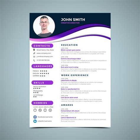 Modèle Présentation Cv by Purple Resume Design Template Free Vector