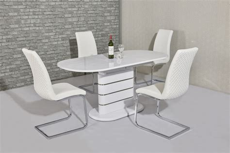 small white table and chairs small oval white gloss dining table 4 white chairs