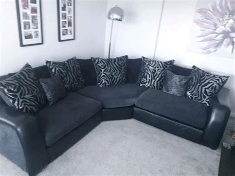 Black And Gray Sofa by Corner Sofa Black And Grey Leather Fabric In Blacon