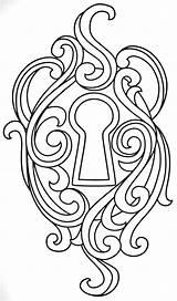 Coloring Key Lock Adult Colouring Wood Burning Patterns Embroidery Mandala Urban sketch template