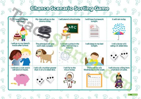 chance scenario sorting game teaching resource teach starter