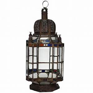 Antique Large Moroccan Candle Lantern For Sale at 1stdibs