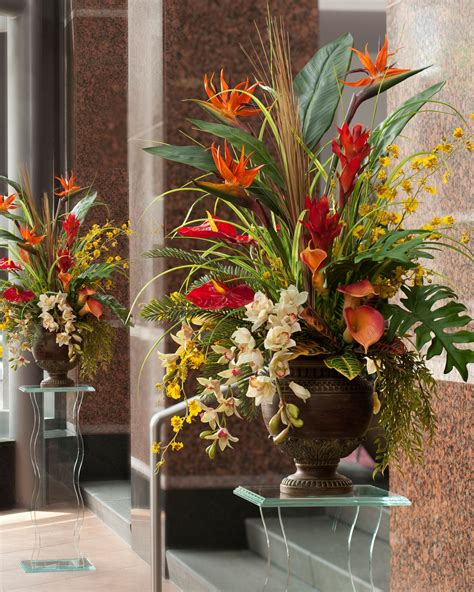 Tall Flower Stands For Centerpieces by Exotic Decorating With Tropical Paradise Silk Arrangement