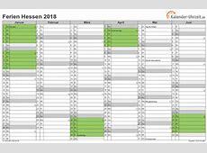 Ferien Hessen 2018 Ferienkalender zum Ausdrucken