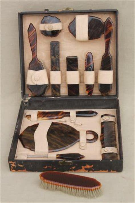 celluloid vanity dresser set deco vintage tortoise shell celluloid plastic dresser