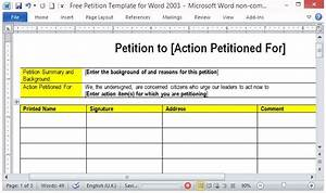 free petition template for word With template for petition signatures