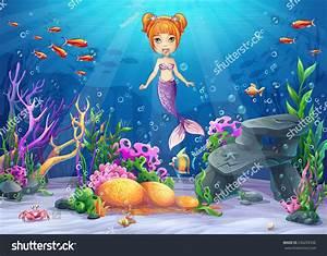 Vector Cartoon Illustration Underwater World Funny Stock ...