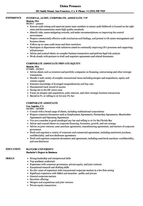 Corporate Associate Resume Samples   Velvet Jobs