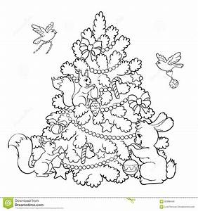 animal christmas coloring pages - coloring book cartoon animals decorate the christmas tree