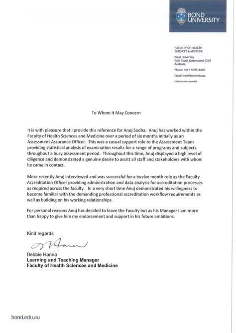 reference letter medical school bond university