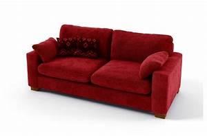 Canap 3 Places En Tissu De Qualit Cosy Rouge
