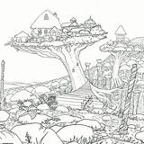 Coloring Adult Adults Worlds Legendary Forest Baumhaus Cottages Sky Colorir Crystal Treehouses Colorear Paisagens Campestres Colouring Printable Witek Kickstarter Guardado sketch template