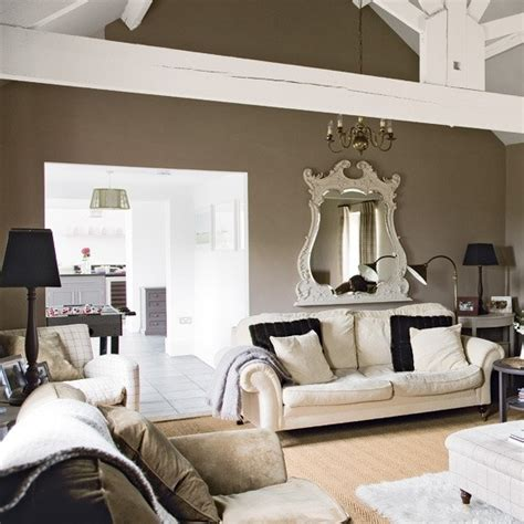 taupe walls  white beams decorating home