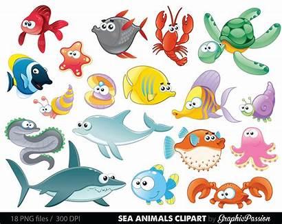 Sea Clipart Animal Under Clip Creatures Ocean