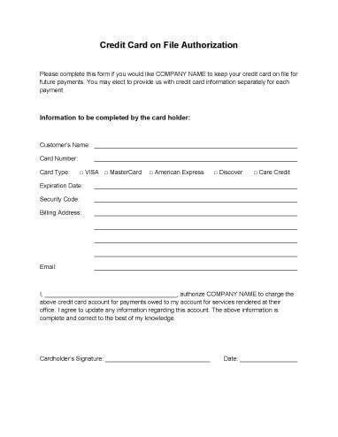Authorization For Credit Card Use - Free Forms Download!!