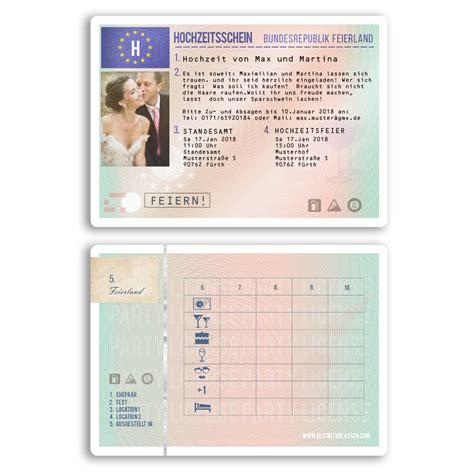einladungen zur hochzeit als fuehrerschein karte lizenz