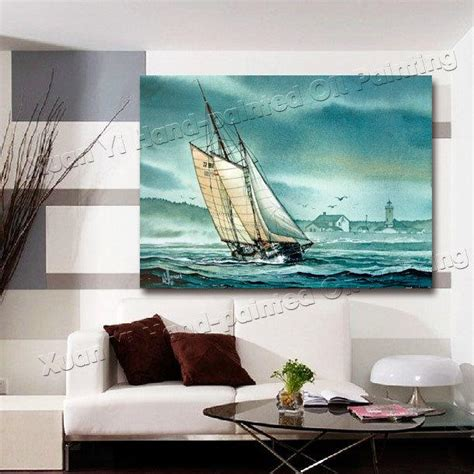 oil painting modern living room wall decor boat